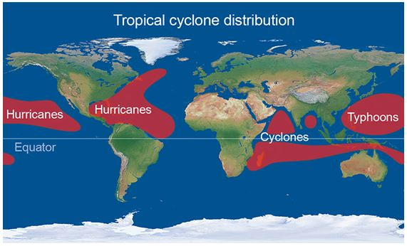 Tropical cyclone distribution_Met Office website